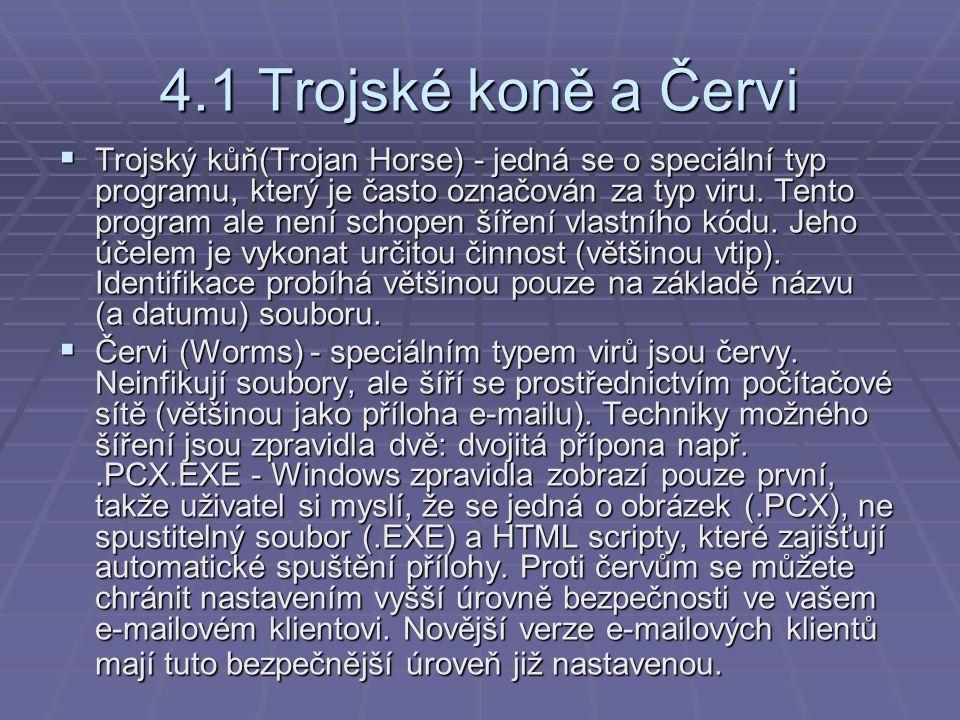 4.1 Trojské koně a Červi