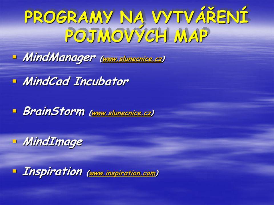 PROGRAMY NA VYTVÁŘENÍ POJMOVÝCH MAP
