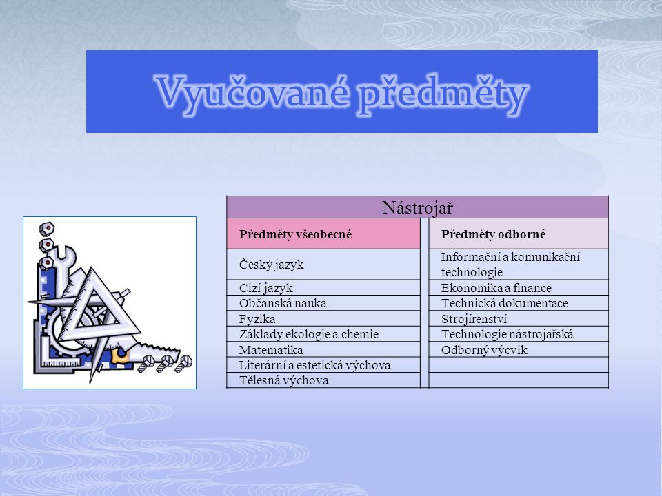 Vyučované předměty Nástrojař Předměty všeobecné Předměty odborné