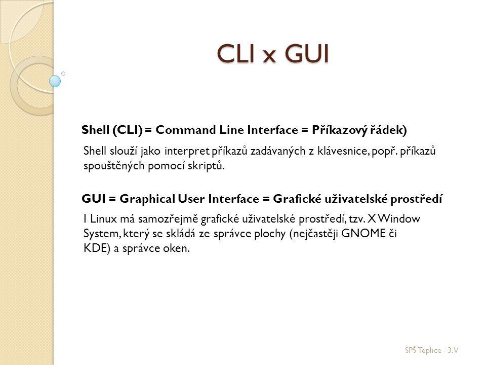 CLI x GUI Shell (CLI = Command Line Interface = Příkazový řádek)