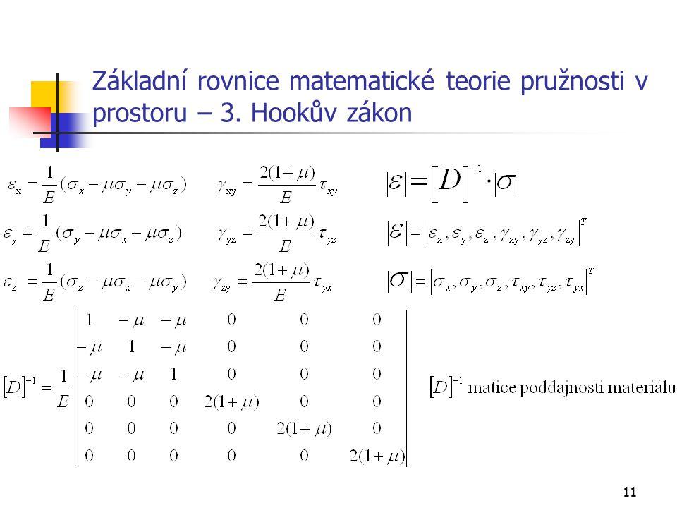 Základní rovnice matematické teorie pružnosti v prostoru – 3