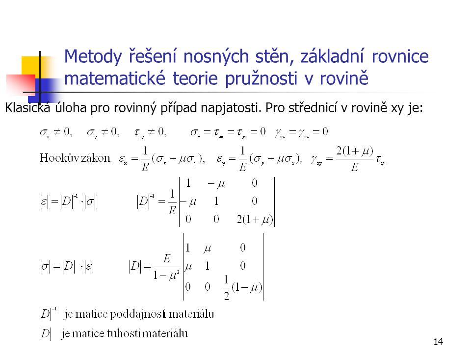Metody řešení nosných stěn, základní rovnice matematické teorie pružnosti v rovině