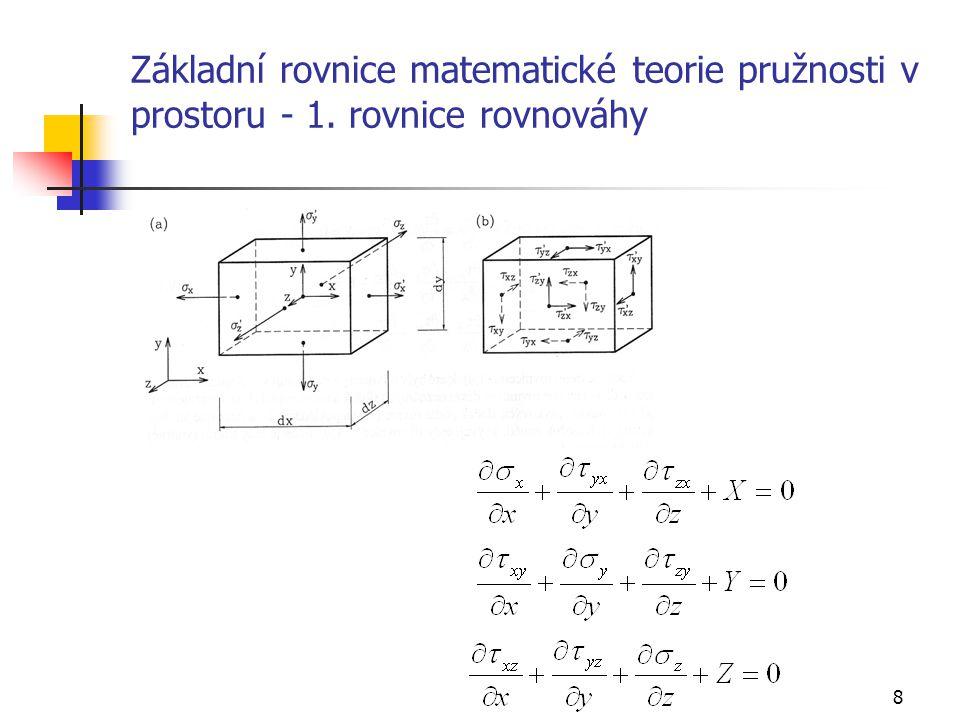 Základní rovnice matematické teorie pružnosti v prostoru - 1