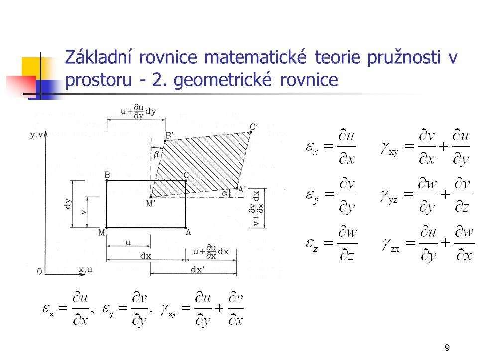 Základní rovnice matematické teorie pružnosti v prostoru - 2