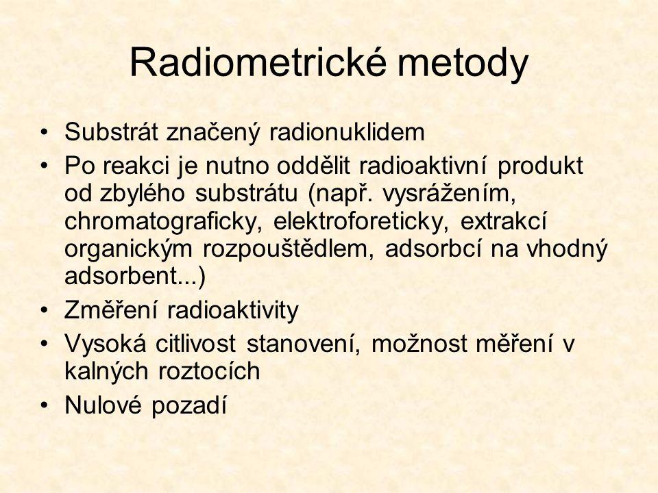 Radiometrické metody Substrát značený radionuklidem
