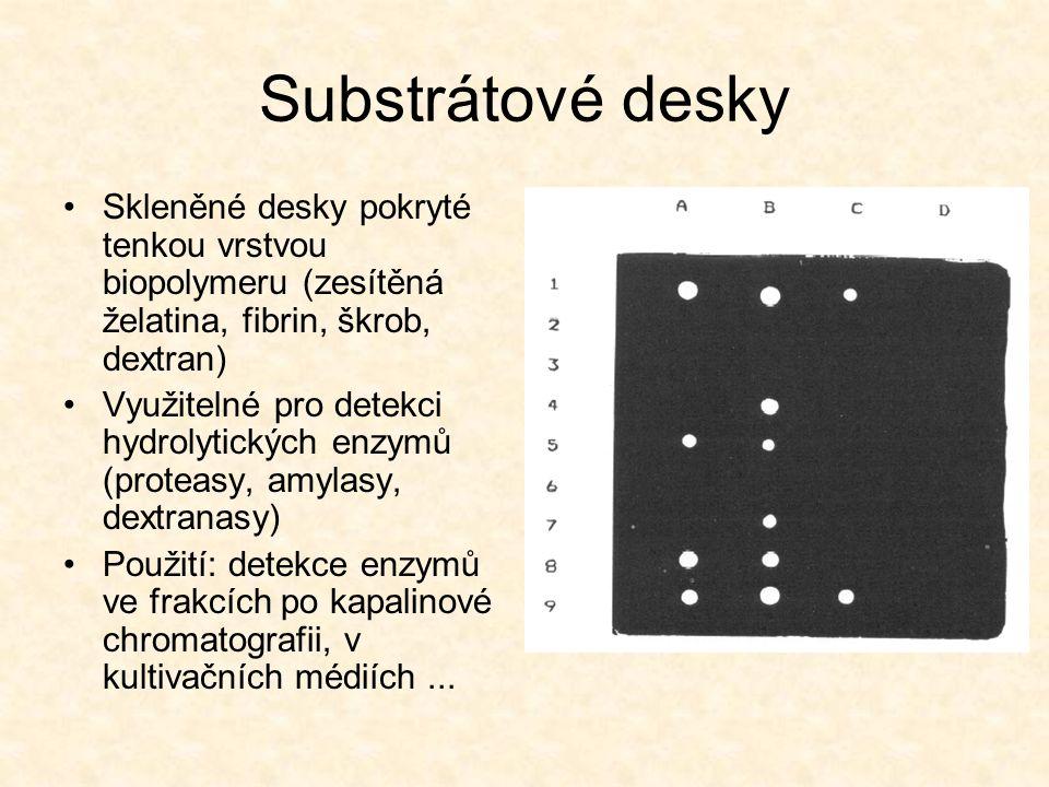 Substrátové desky Skleněné desky pokryté tenkou vrstvou biopolymeru (zesítěná želatina, fibrin, škrob, dextran)