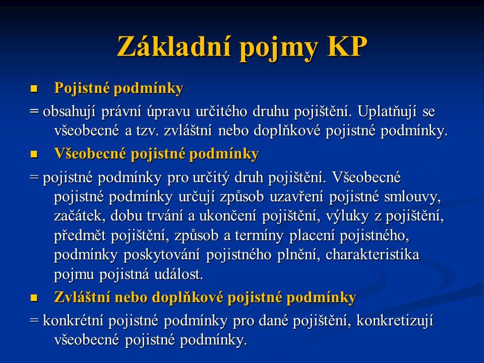 Základní pojmy KP Pojistné podmínky