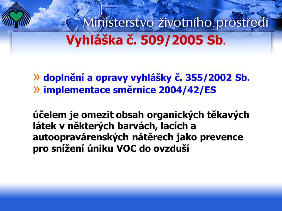 Vyhláška č. 509/2005 Sb. doplnění a opravy vyhlášky č. 355/2002 Sb.