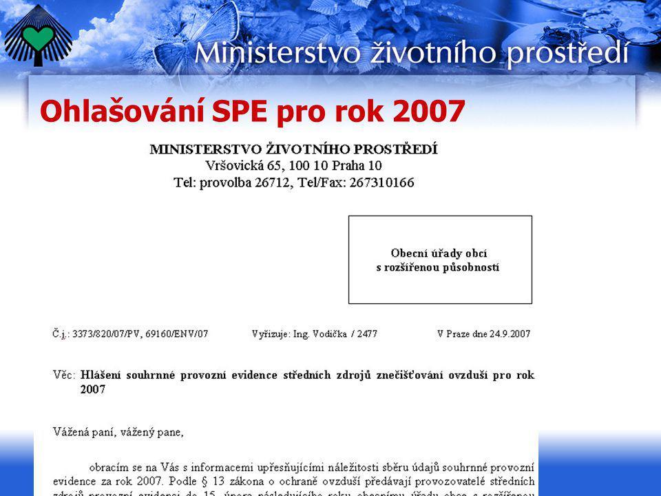 Ohlašování SPE pro rok 2007