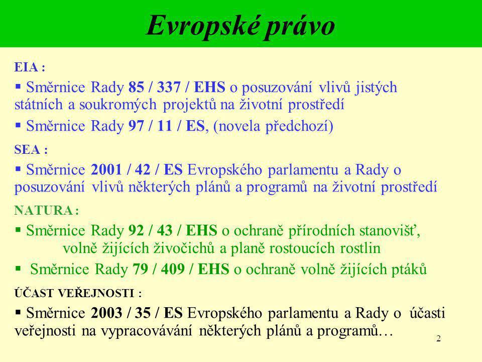 Evropské právo EIA : Směrnice Rady 85 / 337 / EHS o posuzování vlivů jistých státních a soukromých projektů na životní prostředí.