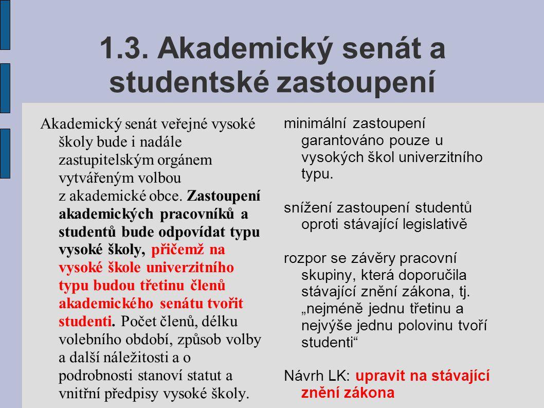1.3. Akademický senát a studentské zastoupení