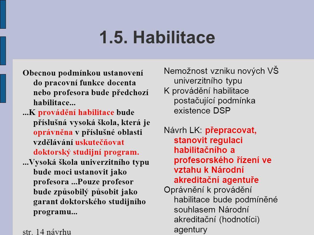 1.5. Habilitace Nemožnost vzniku nových VŠ univerzitního typu