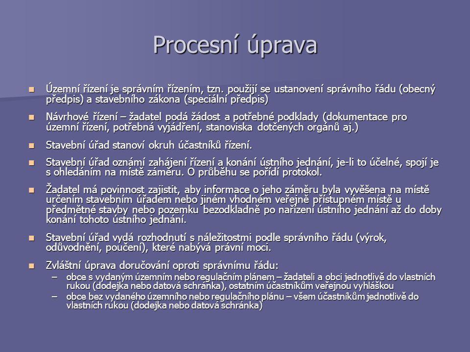 Procesní úprava Územní řízení je správním řízením, tzn. použijí se ustanovení správního řádu (obecný předpis) a stavebního zákona (speciální předpis)
