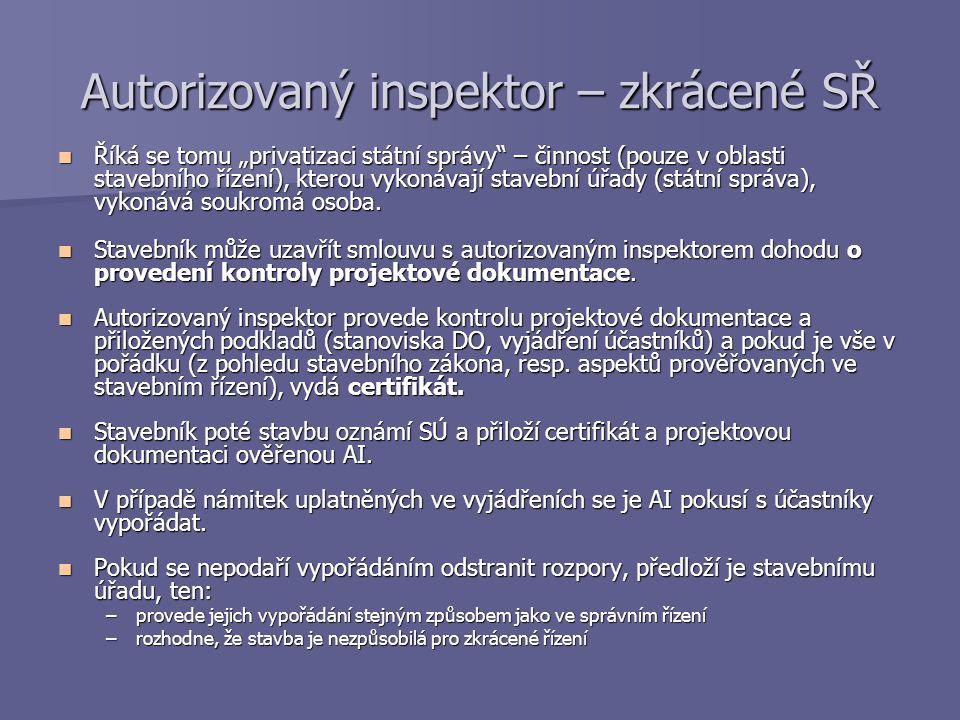 Autorizovaný inspektor – zkrácené SŘ