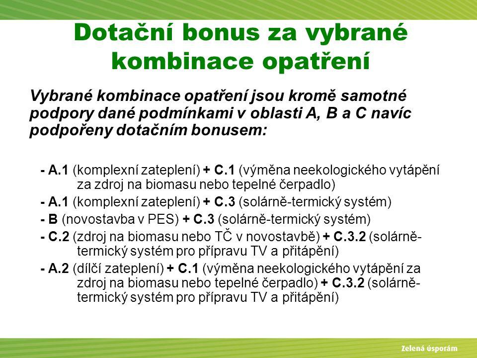 Dotační bonus za vybrané kombinace opatření
