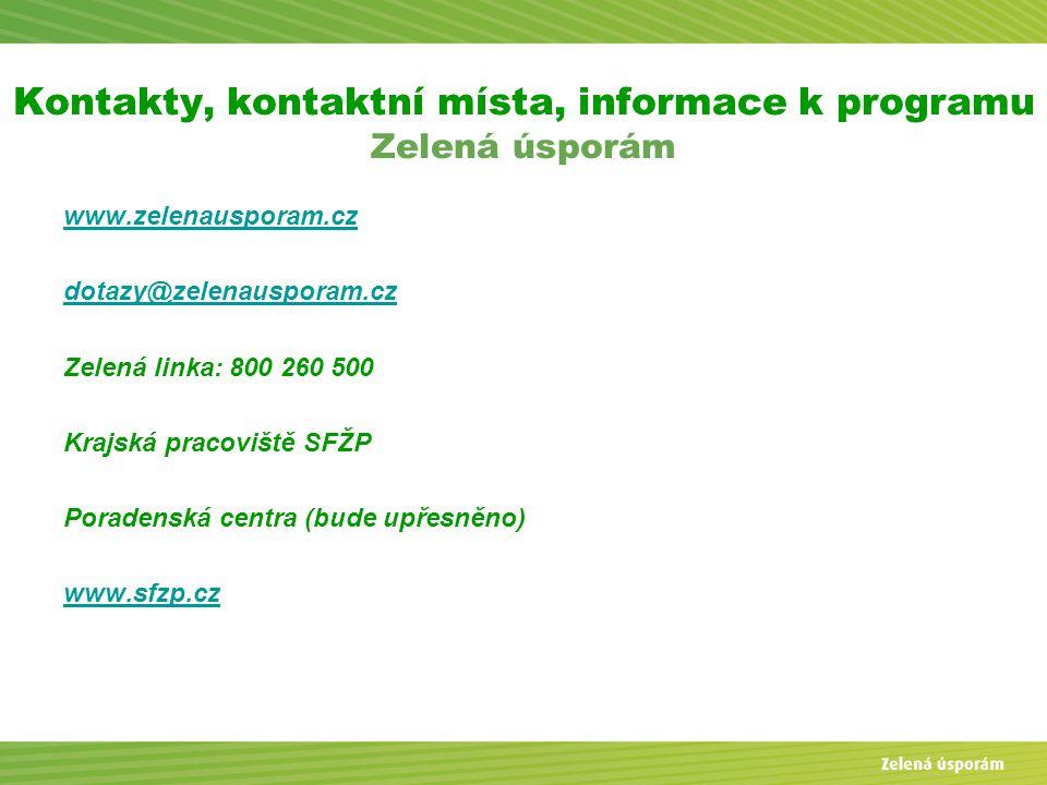 Kontakty, kontaktní místa, informace k programu Zelená úsporám