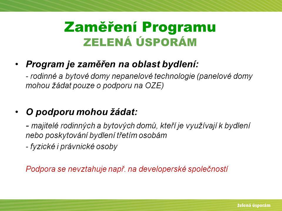 Zaměření Programu ZELENÁ ÚSPORÁM