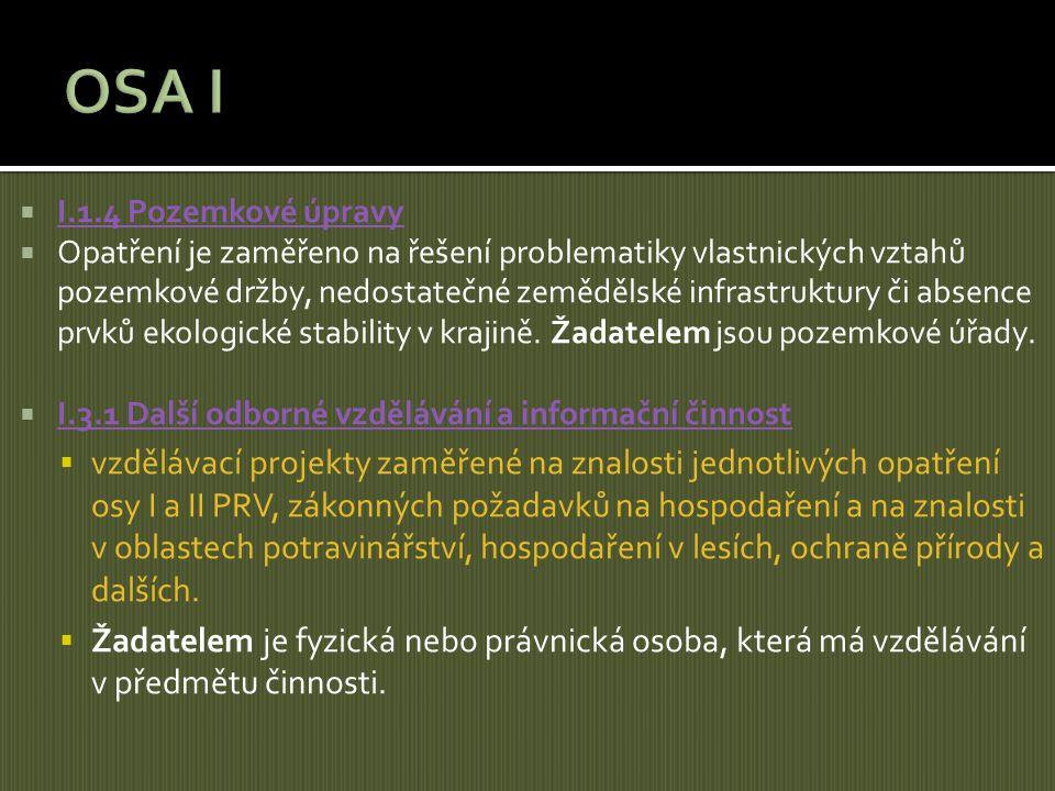 OSA I I.1.4 Pozemkové úpravy.