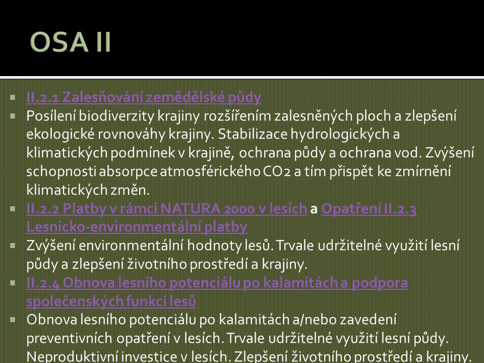 OSA II II.2.1 Zalesňování zemědělské půdy