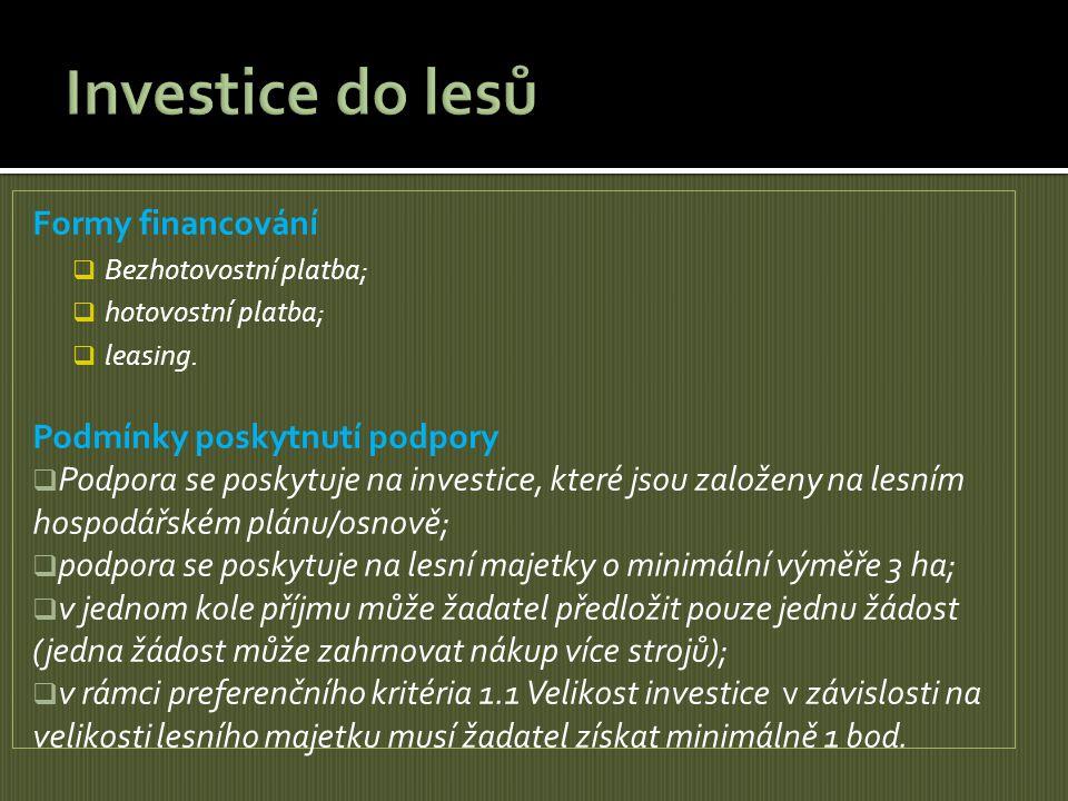 Investice do lesů Formy financování Podmínky poskytnutí podpory