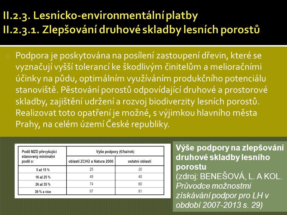 II. 2. 3. Lesnicko-environmentální platby II. 2. 3. 1