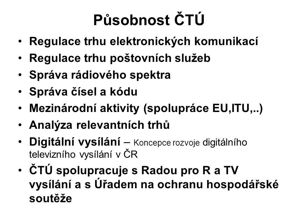 Působnost ČTÚ Regulace trhu elektronických komunikací