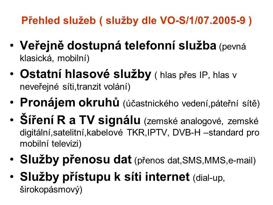 Přehled služeb ( služby dle VO-S/1/07.2005-9 )