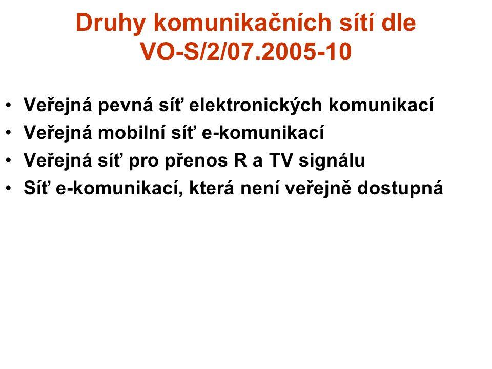 Druhy komunikačních sítí dle VO-S/2/07.2005-10