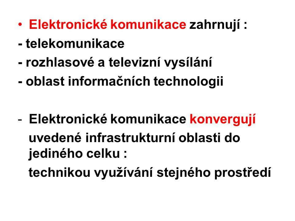 Elektronické komunikace zahrnují :