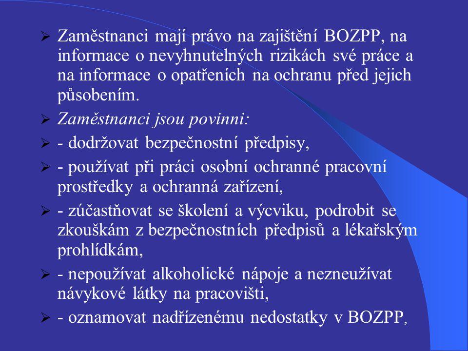 Zaměstnanci mají právo na zajištění BOZPP, na informace o nevyhnutelných rizikách své práce a na informace o opatřeních na ochranu před jejich působením.