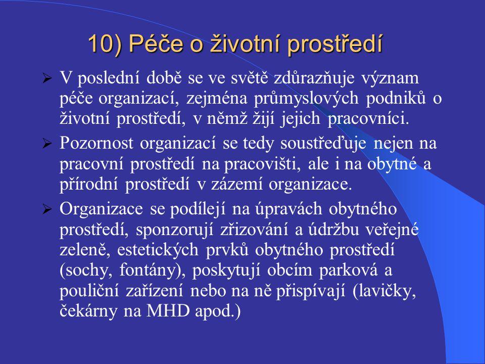 10) Péče o životní prostředí
