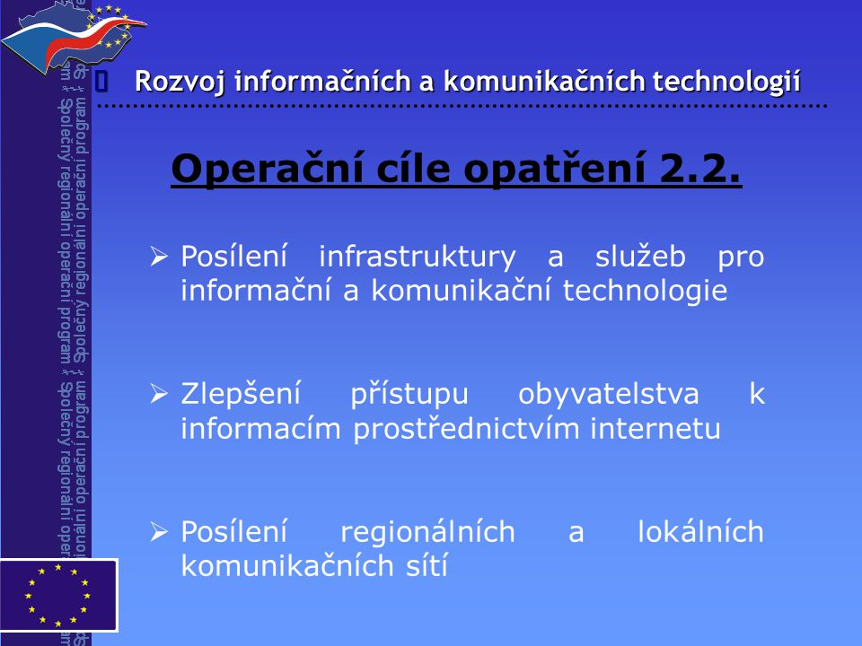 Operační cíle opatření 2.2.
