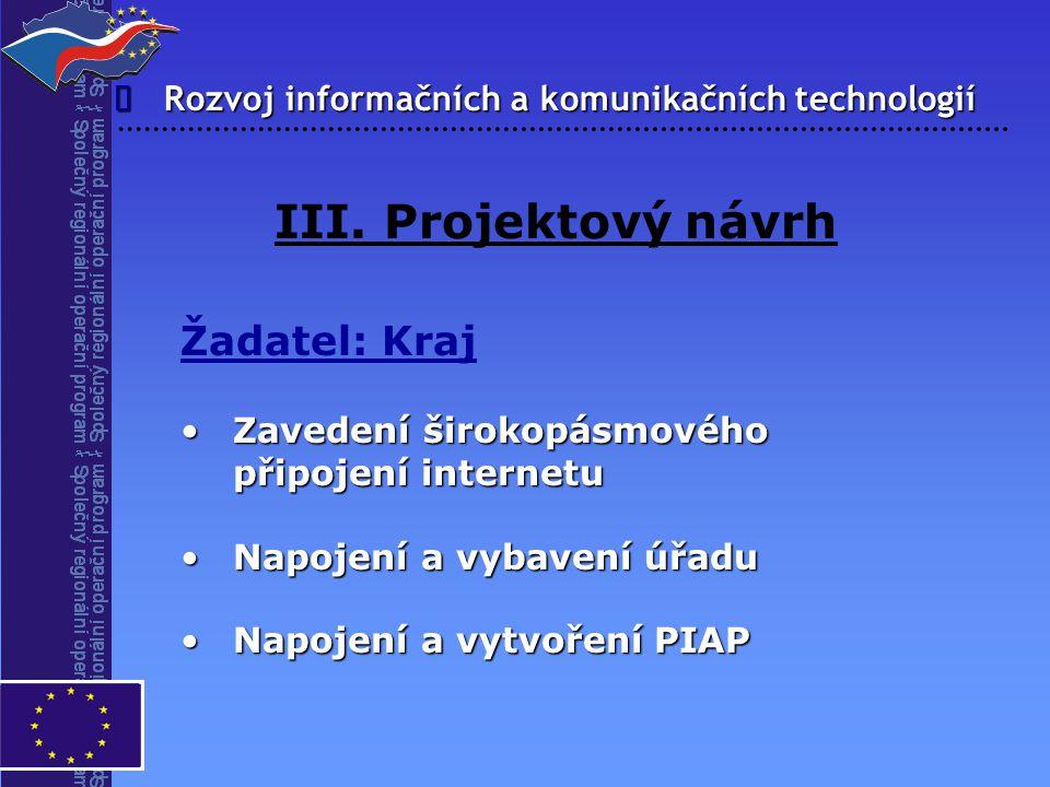 III. Projektový návrh Žadatel: Kraj î