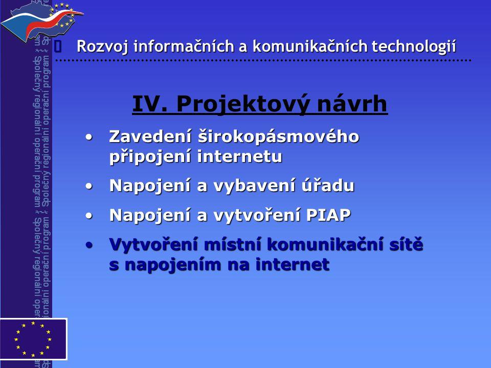 IV. Projektový návrh î Rozvoj informačních a komunikačních technologií