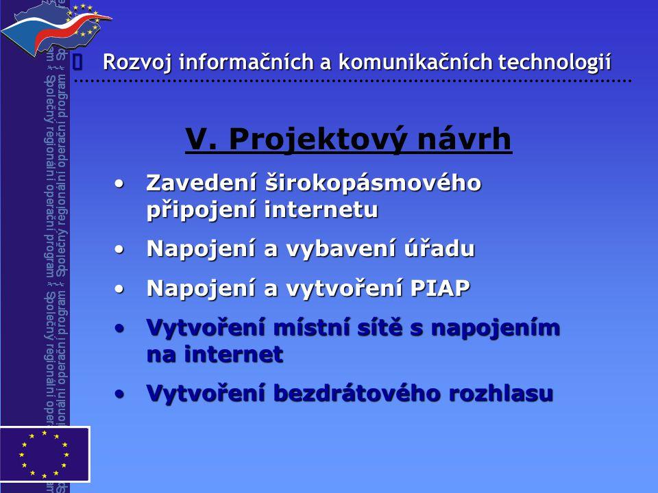 V. Projektový návrh î Rozvoj informačních a komunikačních technologií