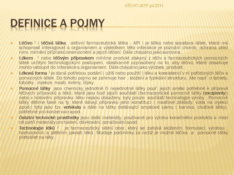 VŠCHT JKTP pd 2011 Definice a pojmy.