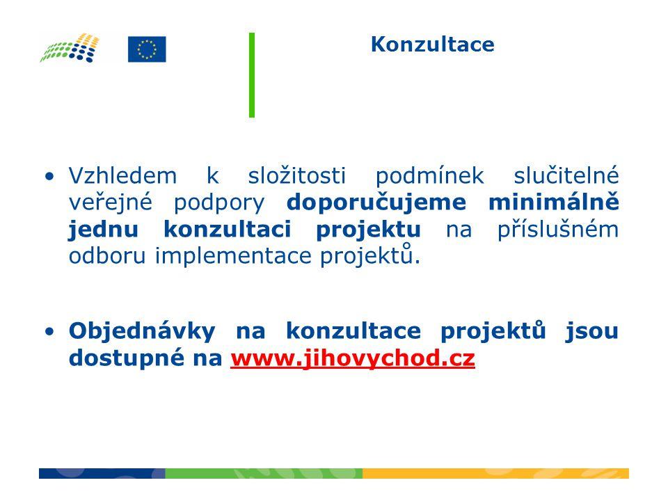 Objednávky na konzultace projektů jsou dostupné na www.jihovychod.cz
