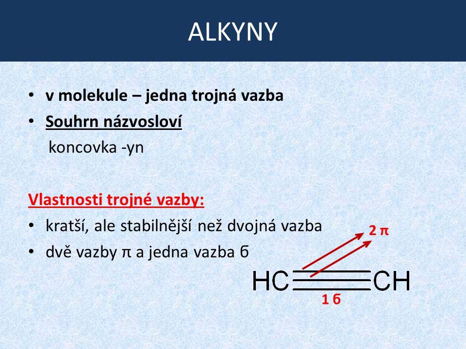ALKYNY v molekule – jedna trojná vazba Souhrn názvosloví koncovka -yn