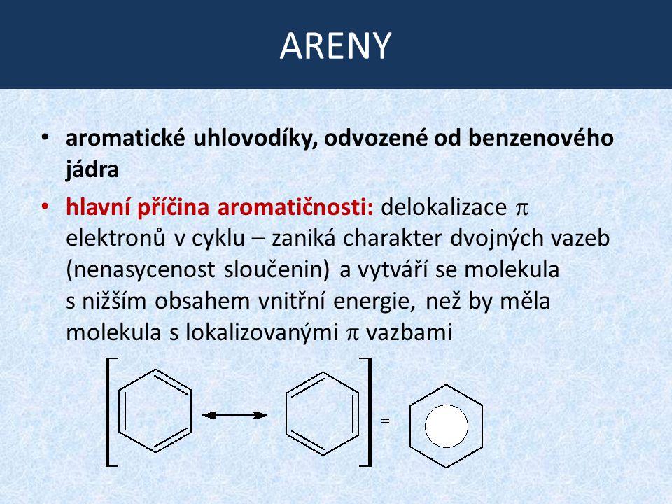 ARENY aromatické uhlovodíky, odvozené od benzenového jádra