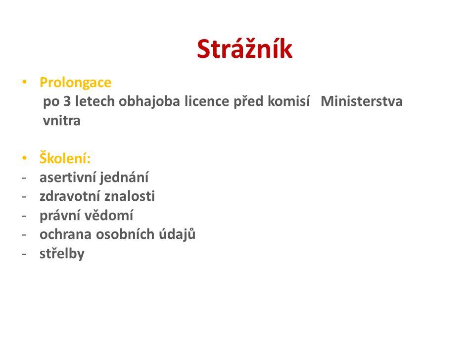 Strážník Prolongace. po 3 letech obhajoba licence před komisí Ministerstva. vnitra. Školení: asertivní jednání.