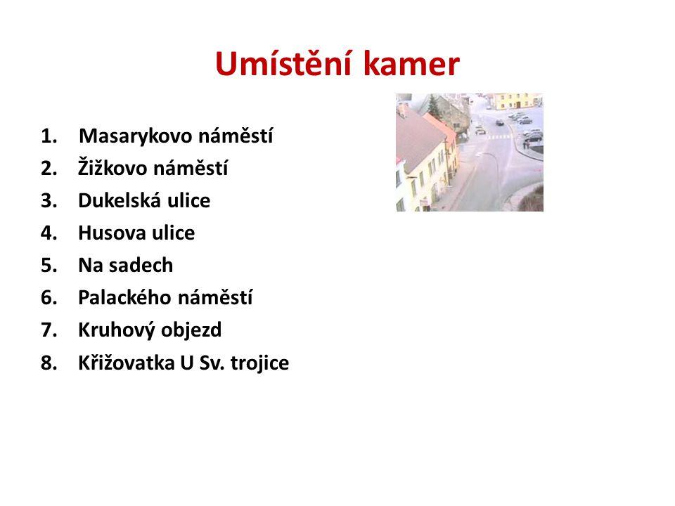 Umístění kamer Masarykovo náměstí 2. Žižkovo náměstí 3. Dukelská ulice