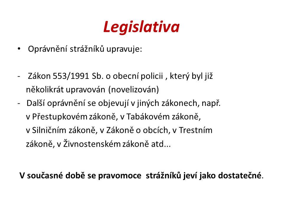 Legislativa Oprávnění strážníků upravuje: