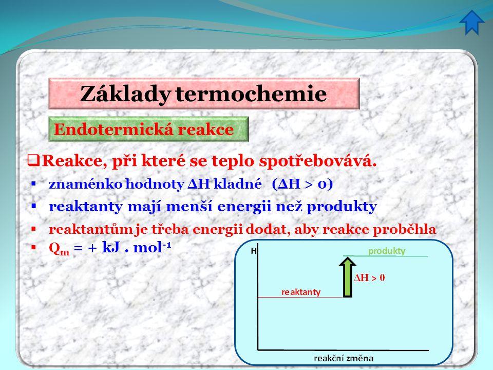 Základy termochemie Endotermická reakce