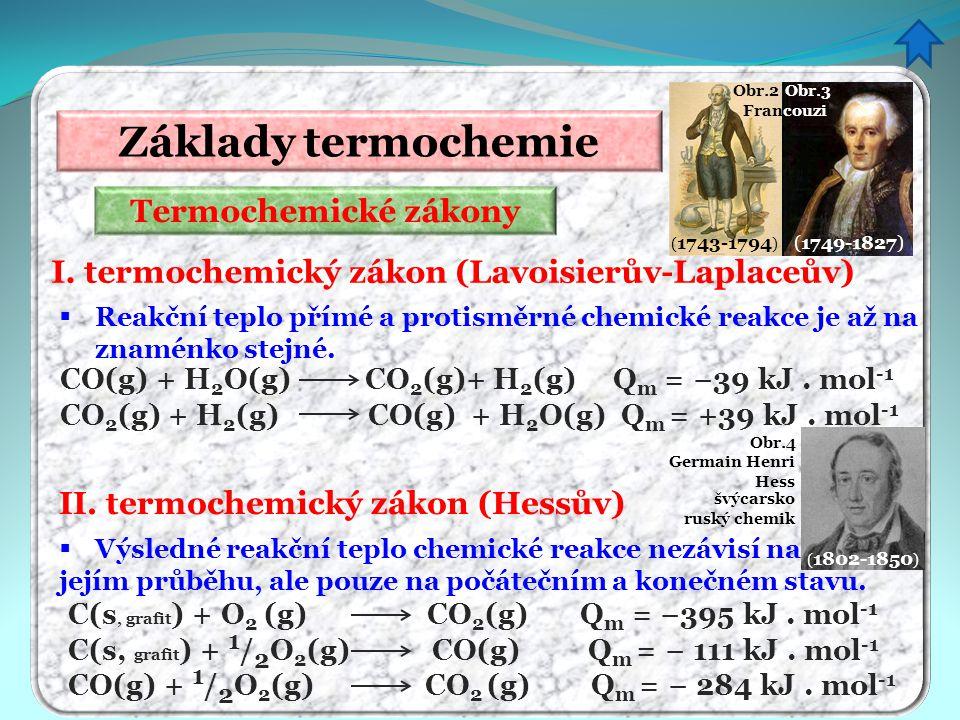 Základy termochemie Termochemické zákony