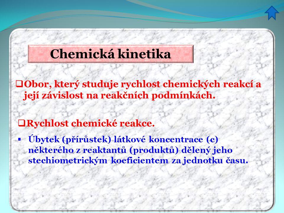 Chemická kinetika Obor, který studuje rychlost chemických reakcí a její závislost na reakčních podmínkách.