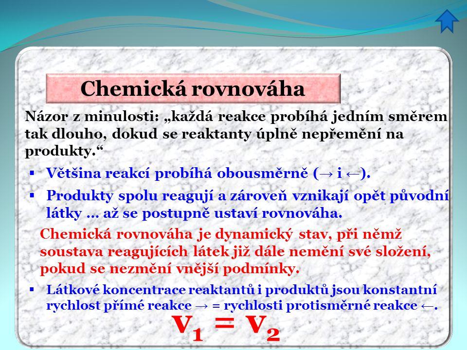 v1 = v2 Chemická rovnováha