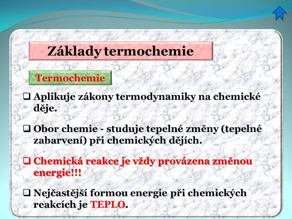 Základy termochemie Termochemie