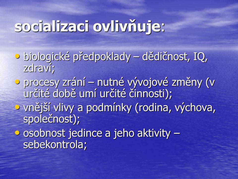 socializaci ovlivňuje: