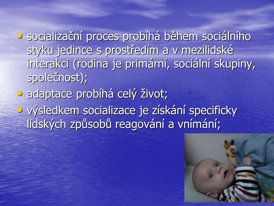 socializační proces probíhá během sociálního styku jedince s prostředím a v mezilidské interakci (rodina je primární, sociální skupiny, společnost);
