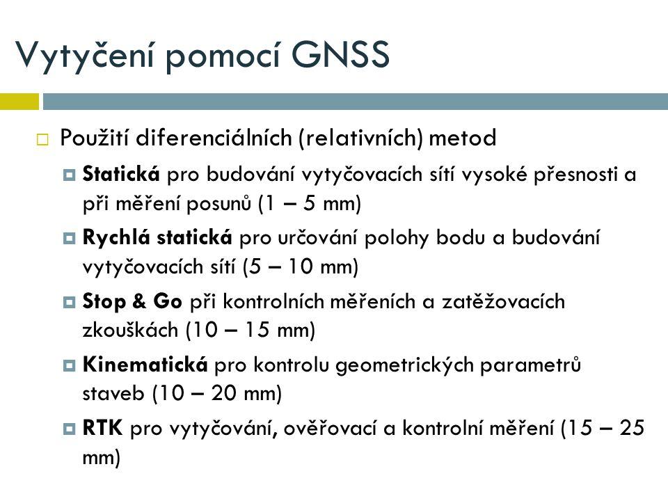Vytyčení pomocí GNSS Použití diferenciálních (relativních) metod